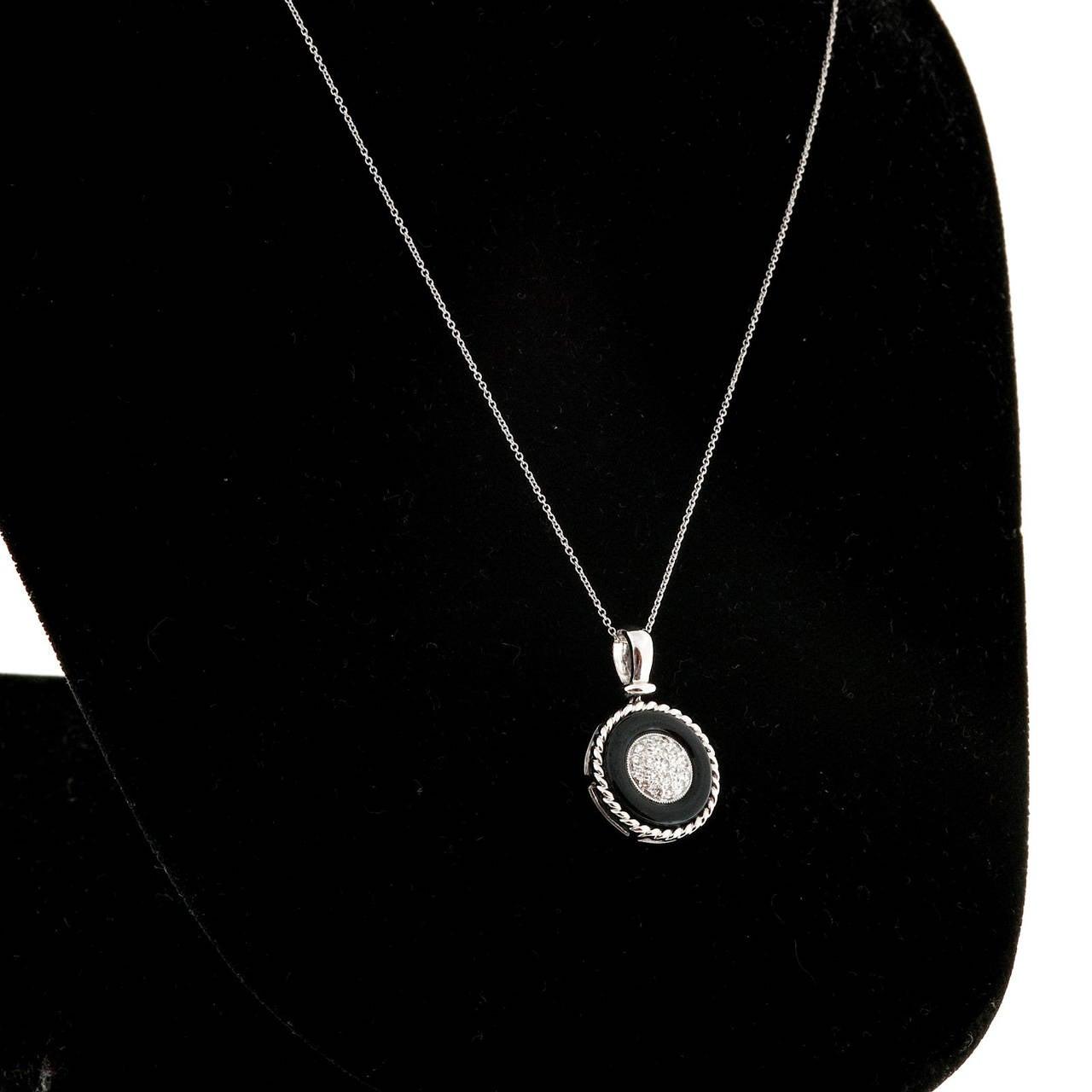 Black Onyx Circle Pave Diamond Platinum Necklace Pendant 6