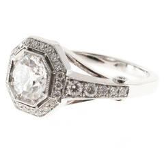 Peter Suchy Diamond Octagonal Halo Platinum Ring