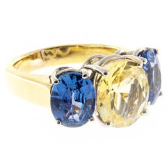 Natural Bright Yellow and Blue Sapphire Yellow Gold Ring