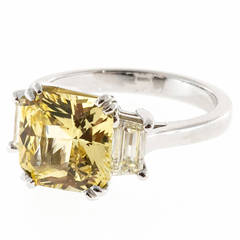 Peter Suchy Natural Canary Yellow Sapphire and Diamond Platinum Ring