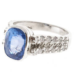Peter Suchy Ceylon Sapphire and Diamond Platinum Ring