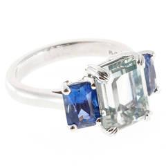 Peter Suchy Natural Light Blue Sapphire  Three Stone Platinum Ring