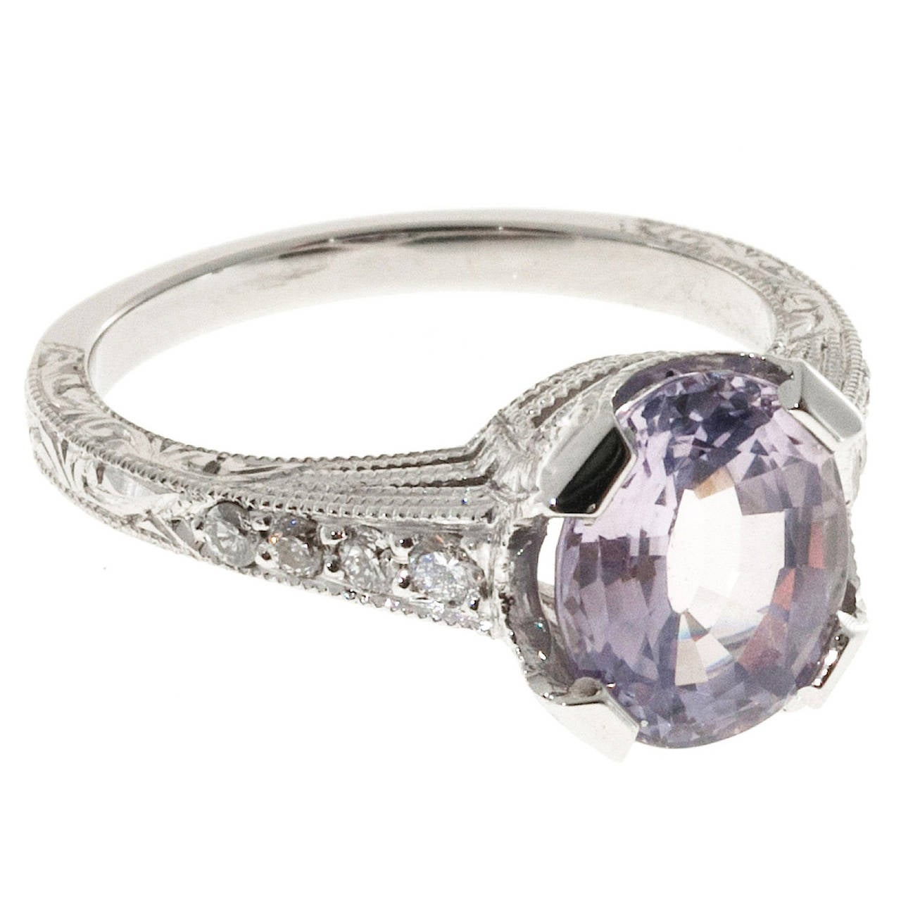 Pink Purple Natural Sapphire and Diamond Platinum Engagement Ring