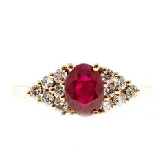 Red Ruby Diamond Gold Triangular Pattern Ring
