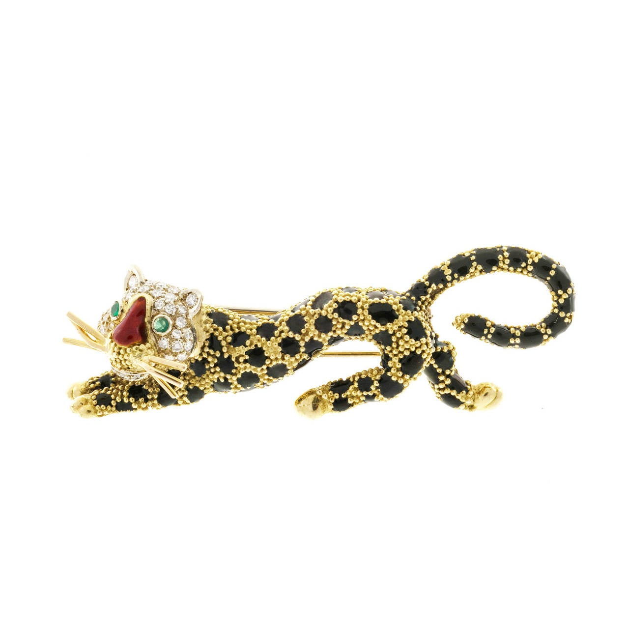 Emerald Diamond Black Enamel Yellow Gold Tiger Leopard Pin For Sale