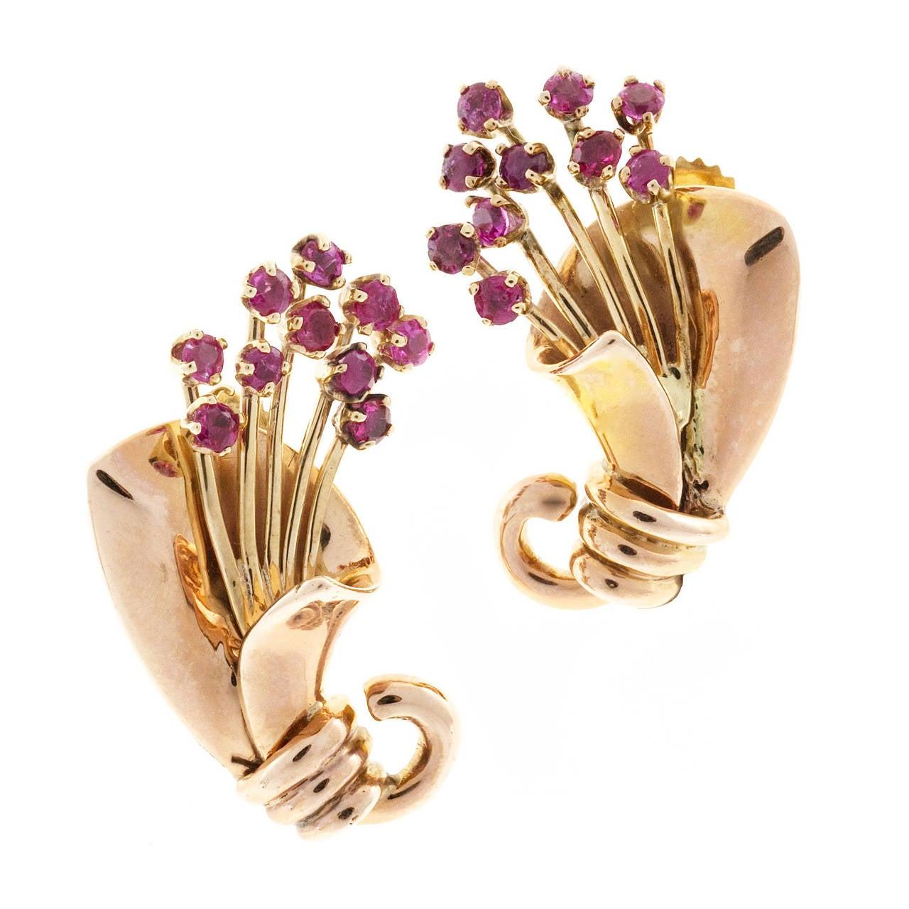 Ruby Gold Pierced Post Flower Earrings