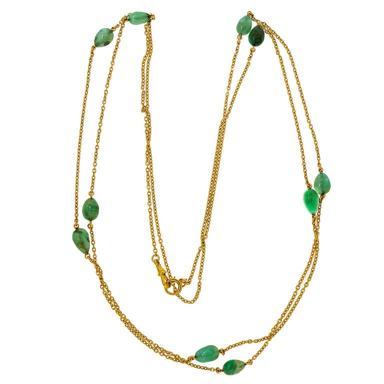 Victorian Emerald Beaded Yellow Gold Necklace For Sale