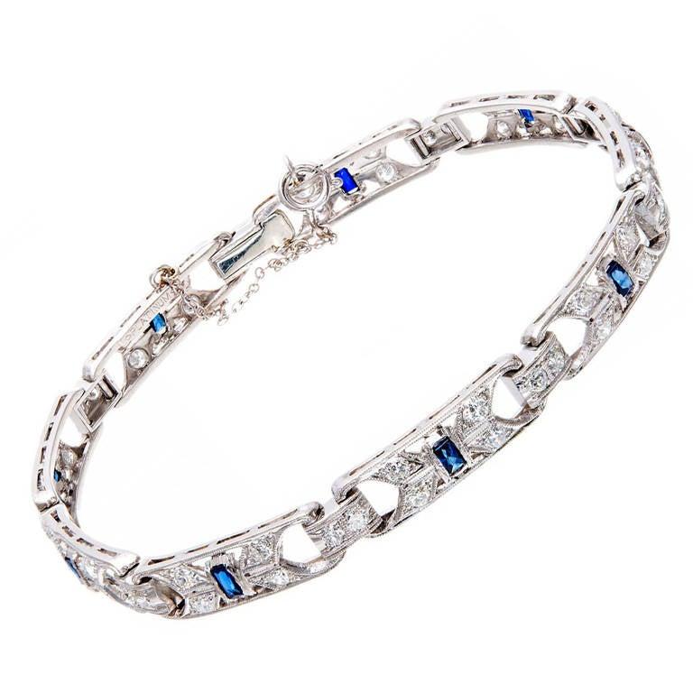 Art Deco Sapphire Diamond Platinum Link Bracelet 1