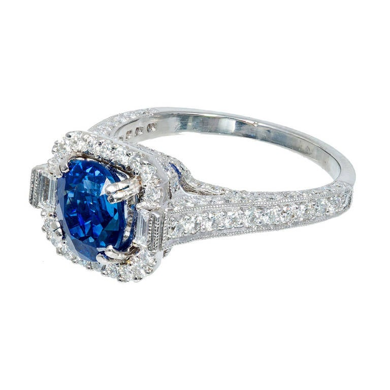 2.87 Carat Art Deco Natural Blue Sapphire Diamond Platinum Engagement Ring