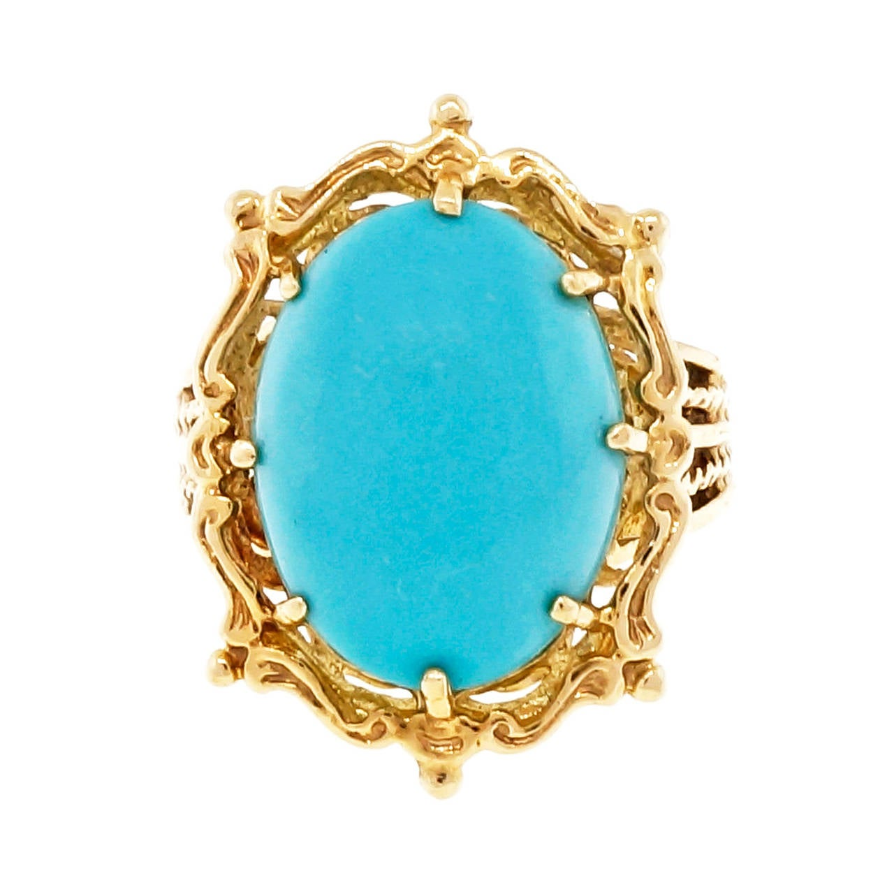 Natural Turquoise Gold Cocktail Ring