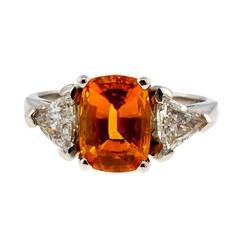 Natural Orange Yellow Sapphire Diamond Platinum Engagement Ring