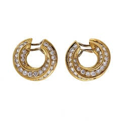 Tiffany & Co Diamond Yellow Gold Hoop Earrings