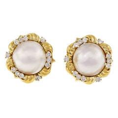 Kurt Wayne Mabe Pearl Diamond Yellow Gold Earrings