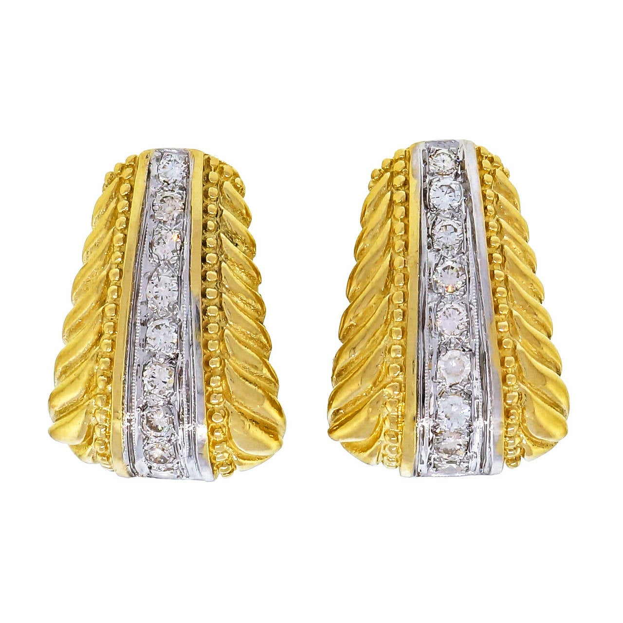 Diamond White and Yellow Gold Clip Post Earrings For Sale