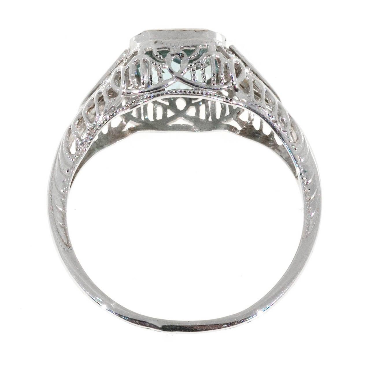 Aquamarine Diamond Gold Filigree Ring For Sale 1