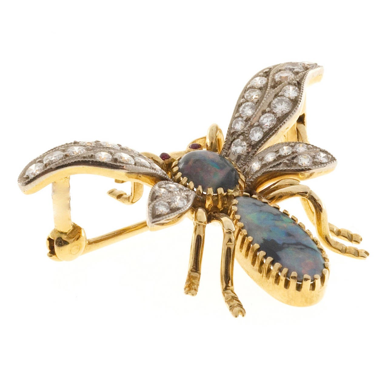 Natural Australian Black Opal and Diamond and Ruby Eyes Bee Pin 5