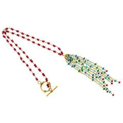 Ruby Aqua Apatite Emerald and Peridot Hand Wired Rondell Bead Necklace