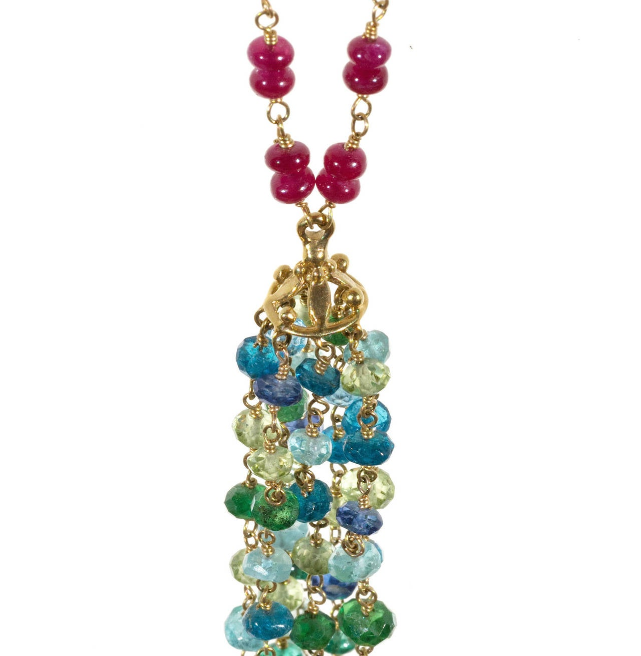 Ruby Aqua Apatite Emerald and Peridot Hand Wired Rondell Bead ...