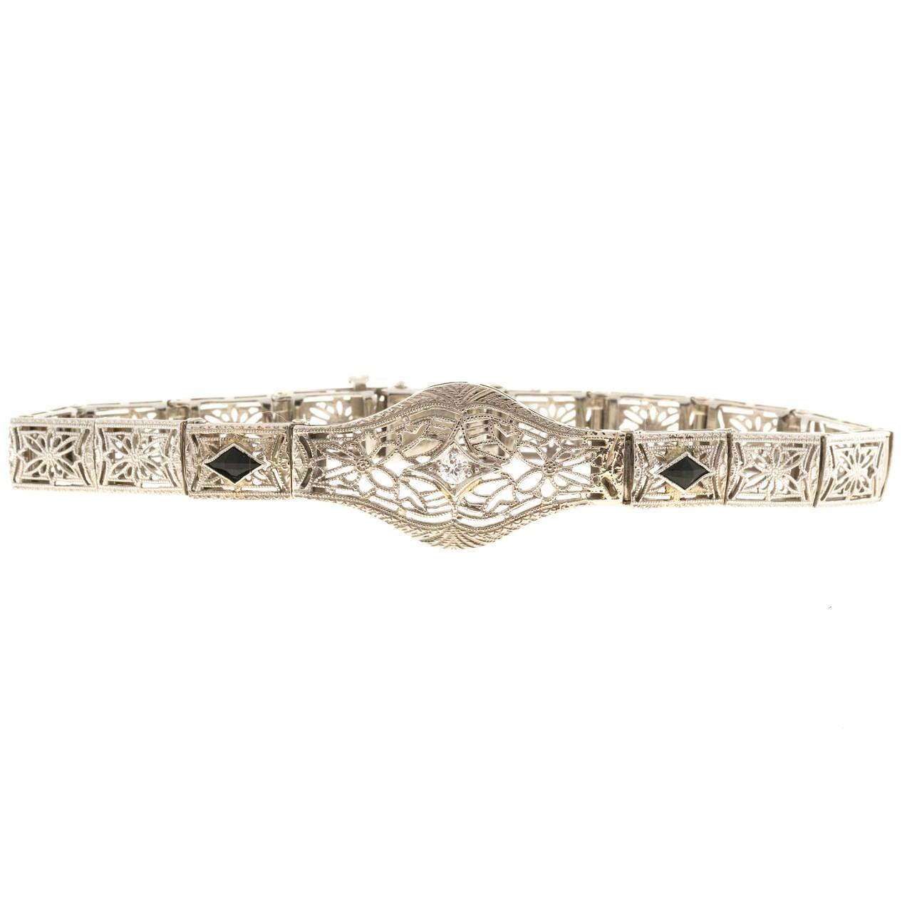 Diamond Calibre Sapphire White Gold Filigree Bracelet For Sale 2