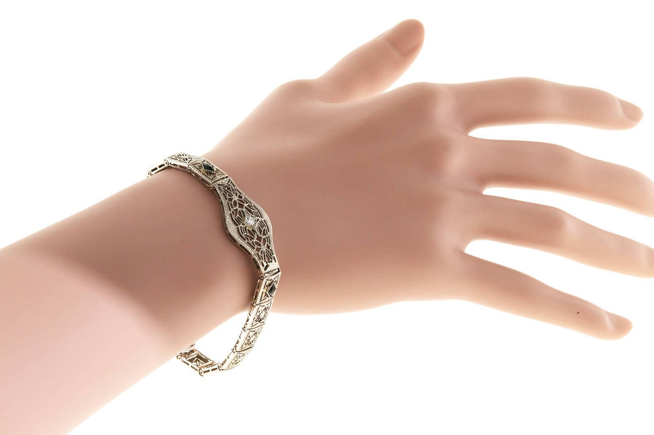 Diamond Calibre Sapphire White Gold Filigree Bracelet For Sale 3