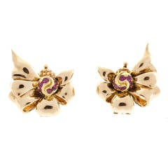 Tiffany & Co Ruby Pink Gold Clip Earrings