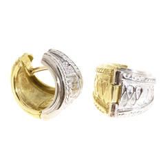 Seidengang Yellow White Gold Hoop Earrings