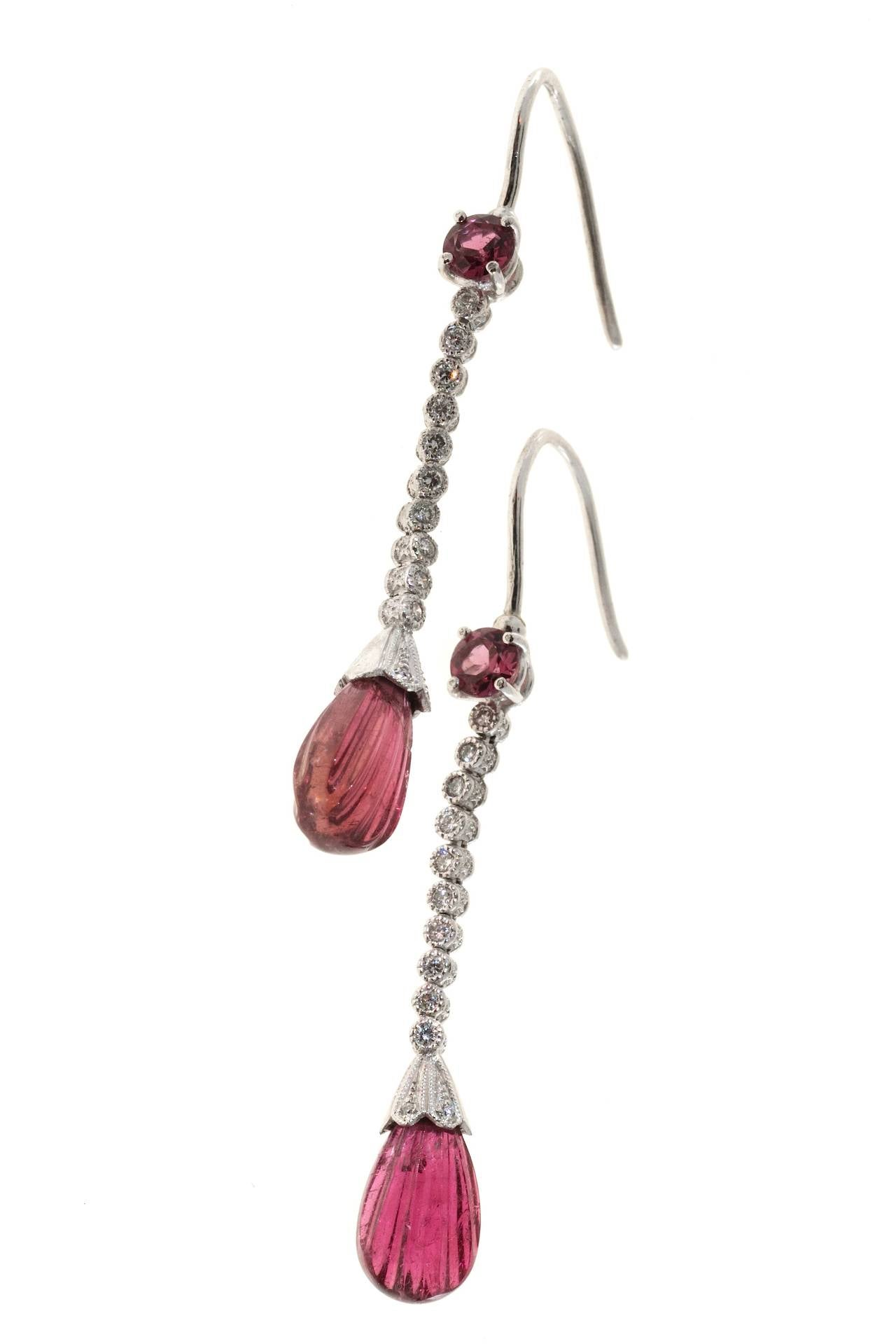 Diamond Pink Tourmaline Platinum Engraved Dangle Earrings 4