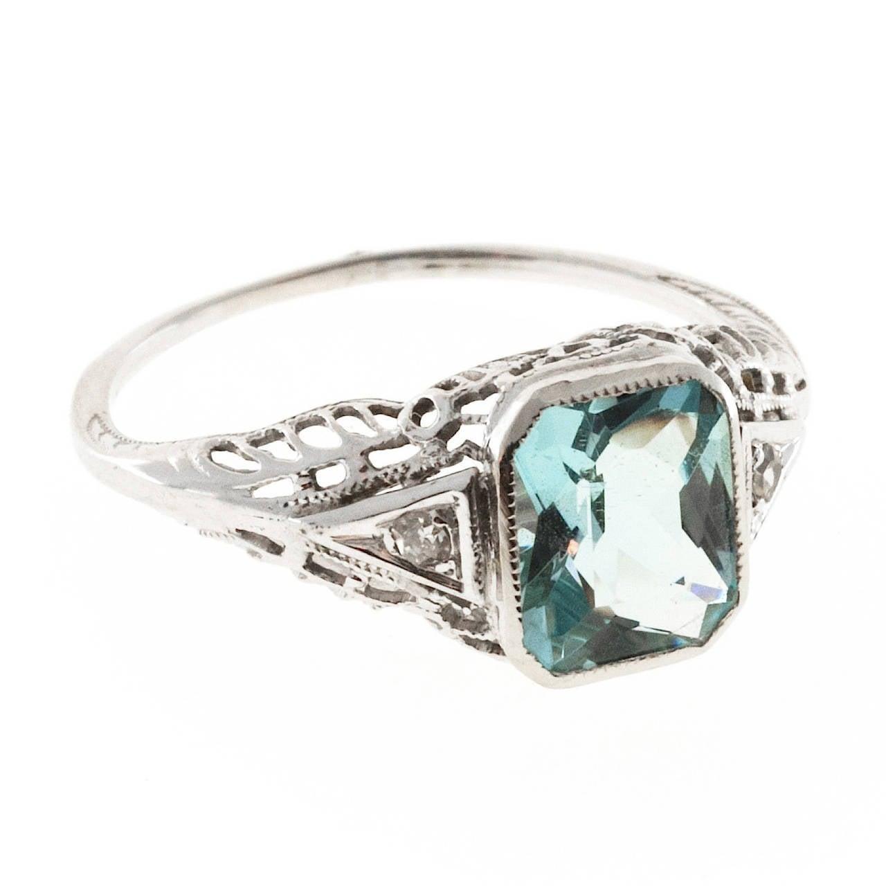 Aquamarine Diamond Gold Filigree Ring