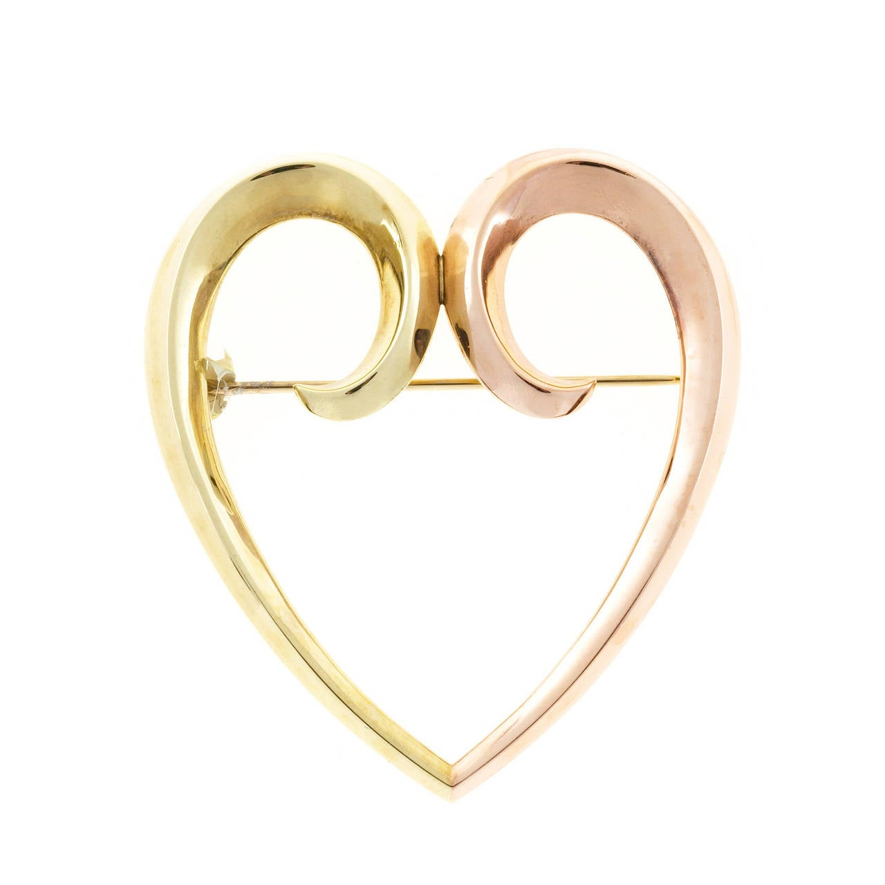 1930s Krementz Rose Gold Heart Pin