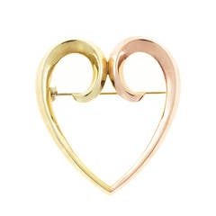 1930s Krementz Rose Gold Heart Pin