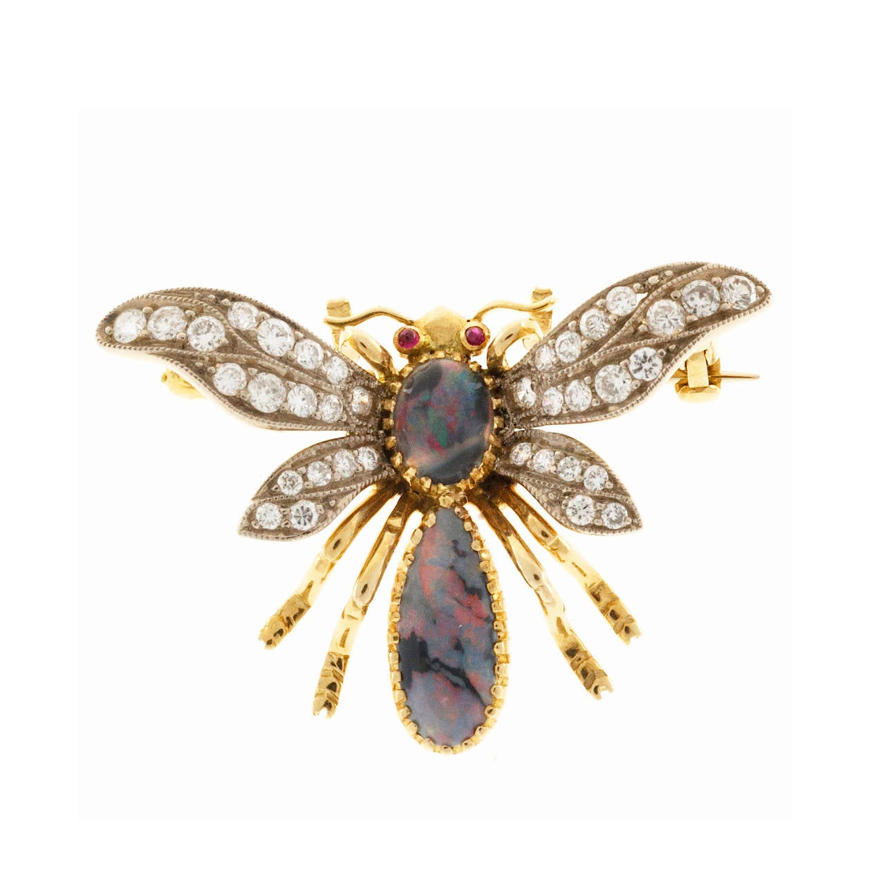 Natural Australian Black Opal and Diamond and Ruby Eyes Bee Pin For Sale