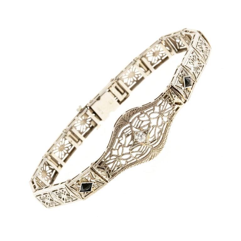 Diamond Calibre Sapphire White Gold Filigree Bracelet For Sale