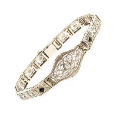 Diamond Calibre Sapphire White Gold Filigree Bracelet