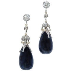 82.82 Carat Sapphire Diamond Pearl Belle Époque Platinum Dangle Earrings
