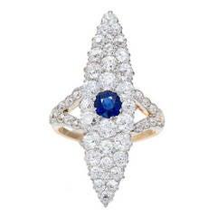 Victorian Blue Sapphire Diamond Gold Platinum Ring