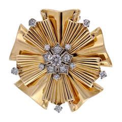 Tiffany & Co .70 Carat Diamond Gold Folded Ribbon Brooch Pendant