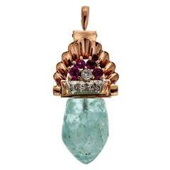 Art Deco Pink Gold Natural Aqua Ruby Diamond Pendant