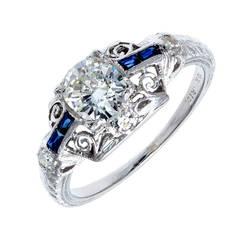 Art Deco EGL Certified .73 Carat Diamond Sapphire Platinum Engagement Ring