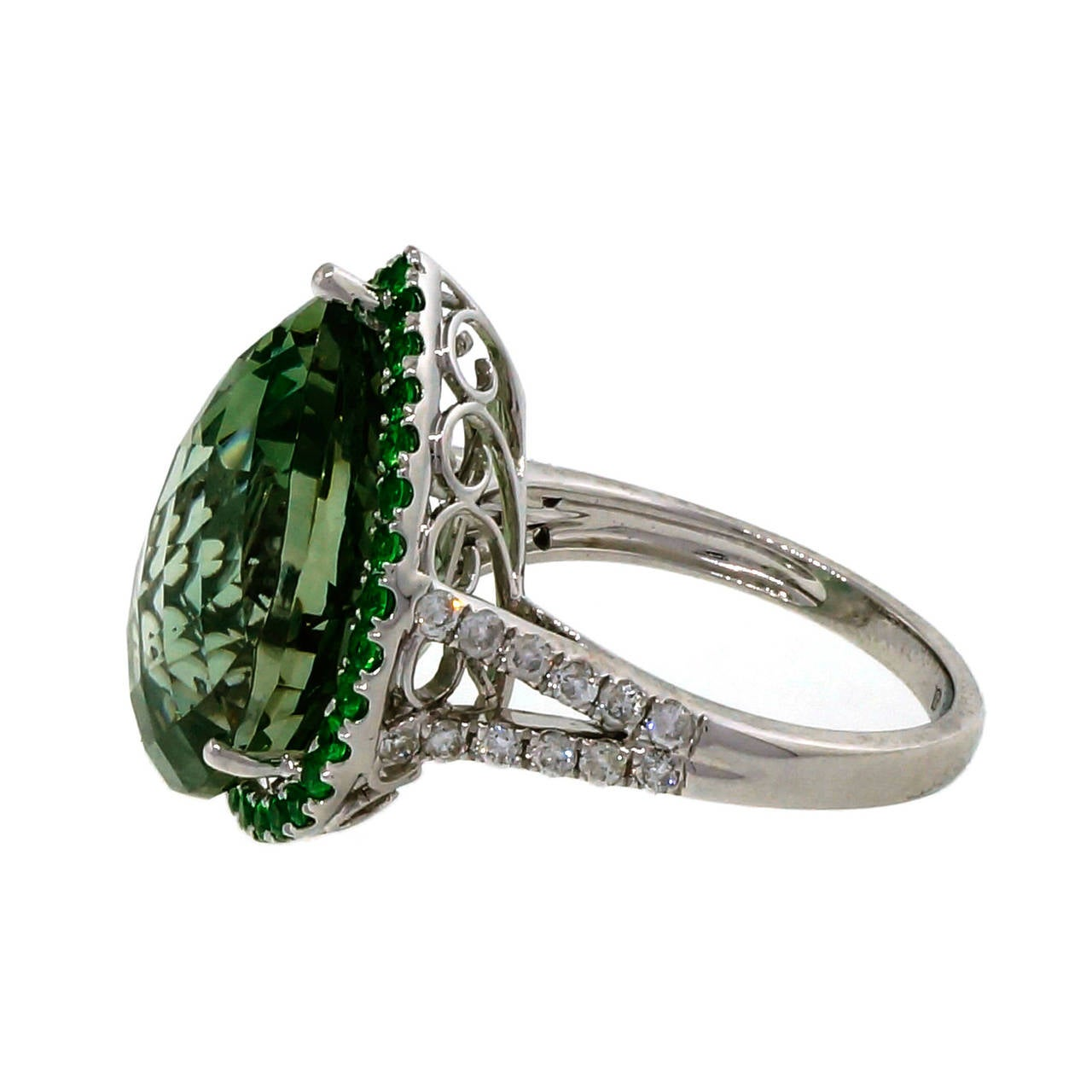 Green Quartz Prasiolite Garnet Diamond Gold Cocktail Ring For Sale 3