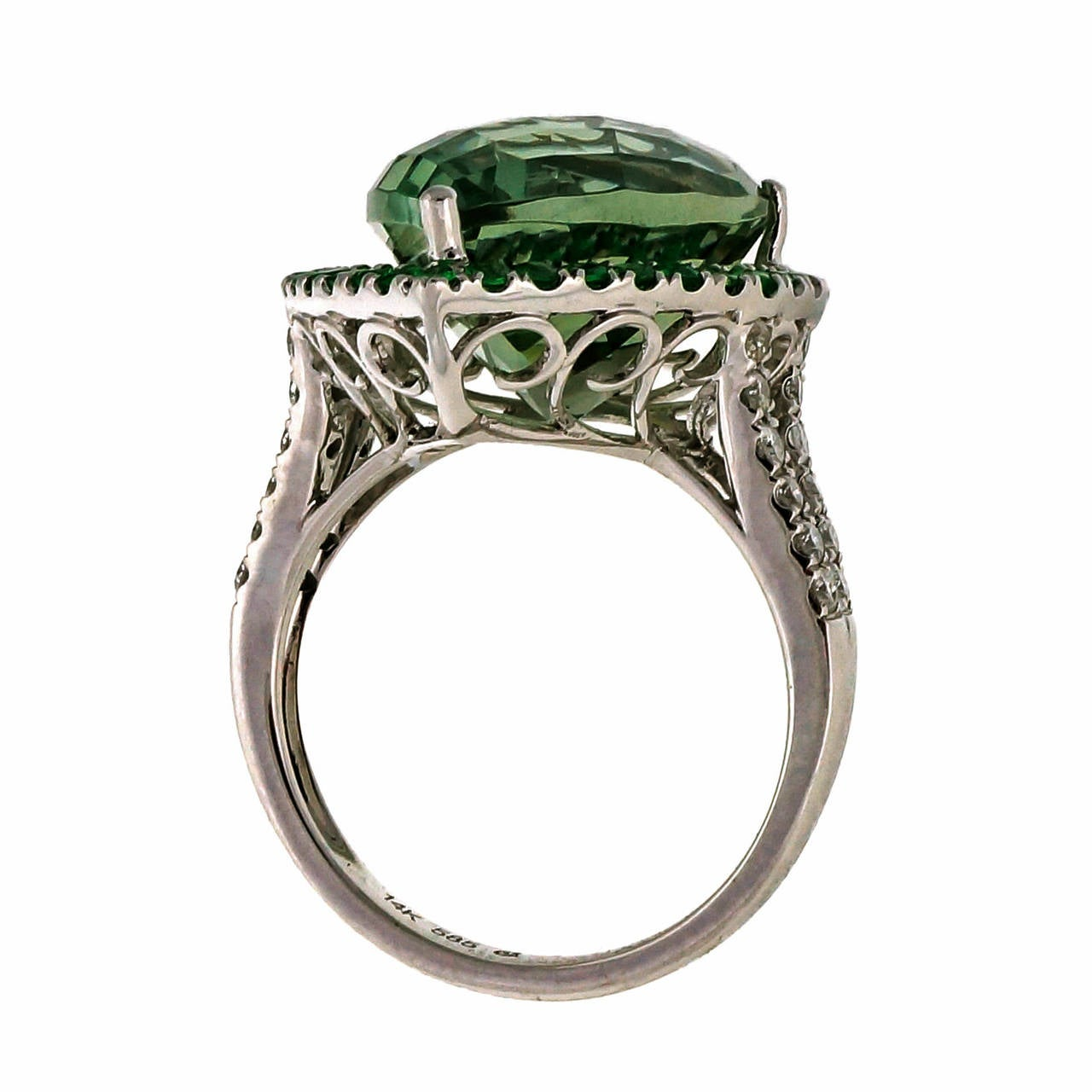 Women's Green Quartz Prasiolite Garnet Diamond Gold Cocktail Ring For Sale