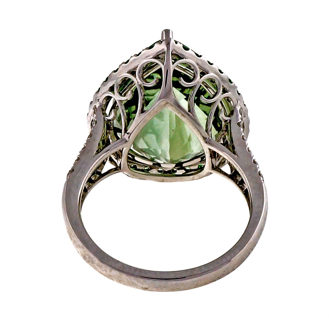 Green Quartz Prasiolite Garnet Diamond Gold Cocktail Ring For Sale 2