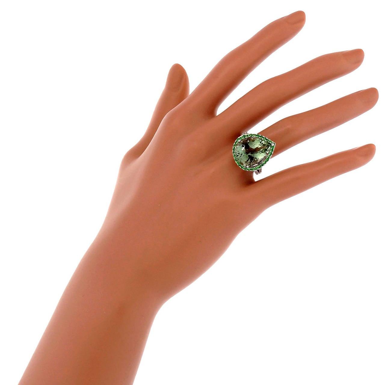 Green Quartz Prasiolite Garnet Diamond Gold Cocktail Ring For Sale 4