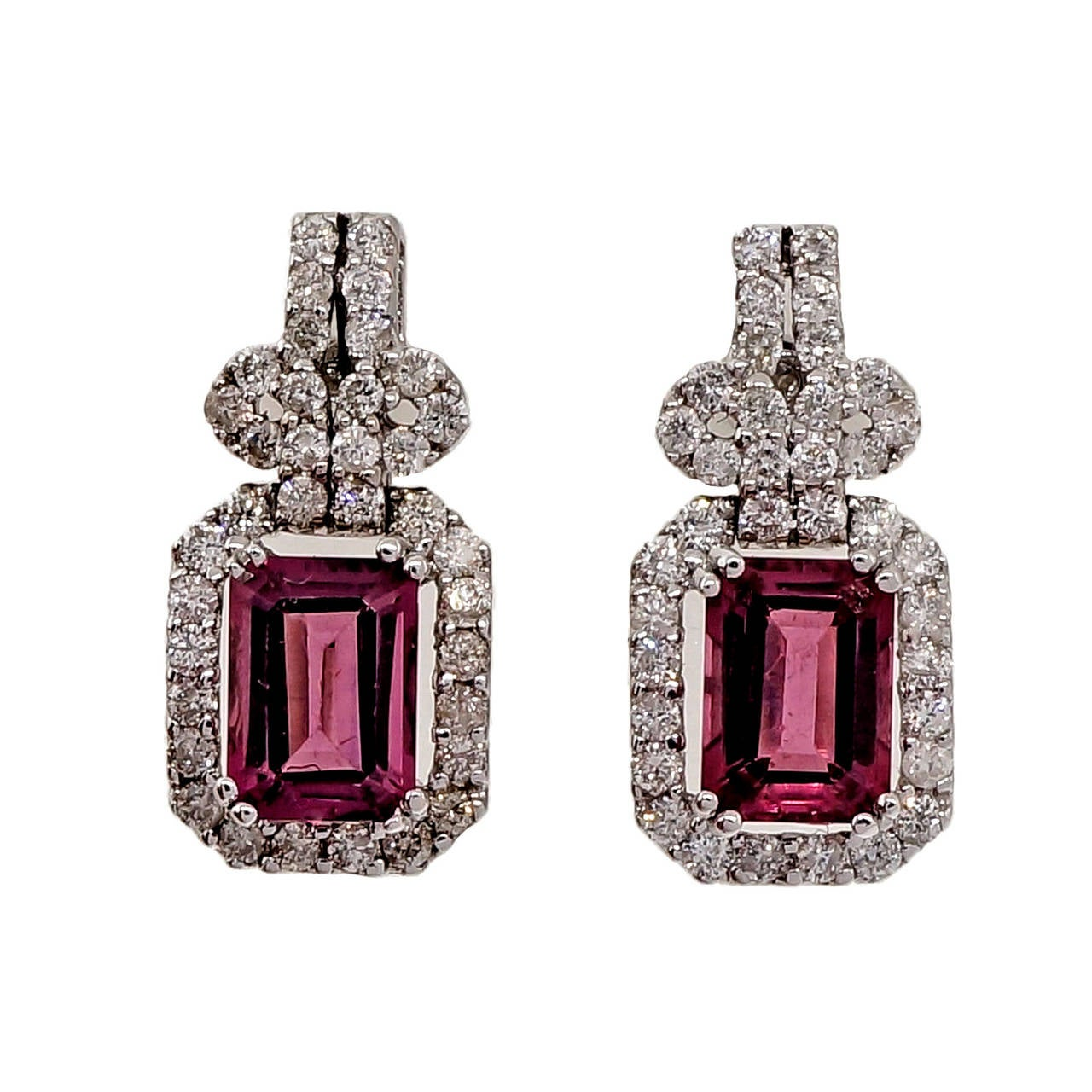 Pink Tourmaline Diamond Gold Dangle Earrings For Sale 4