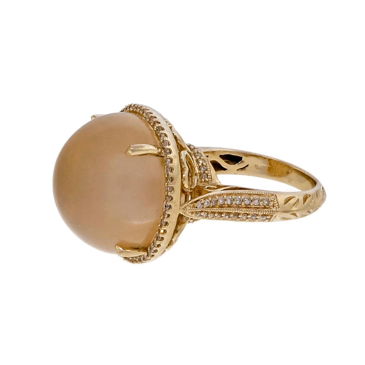 Natural Moonstone Diamond Halo Gold Cocktail Ring 3