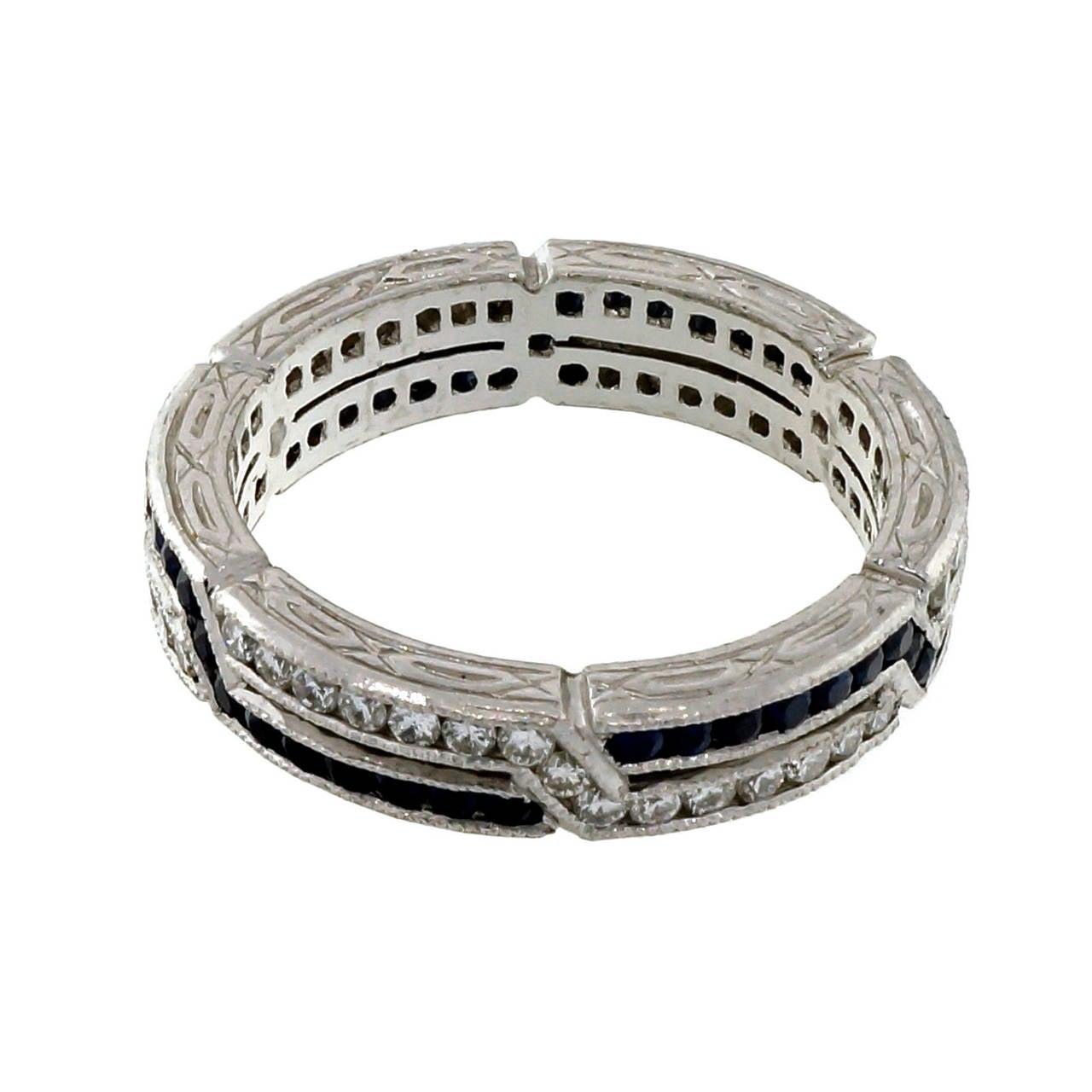 sapphire platinum crisscross design band ring for