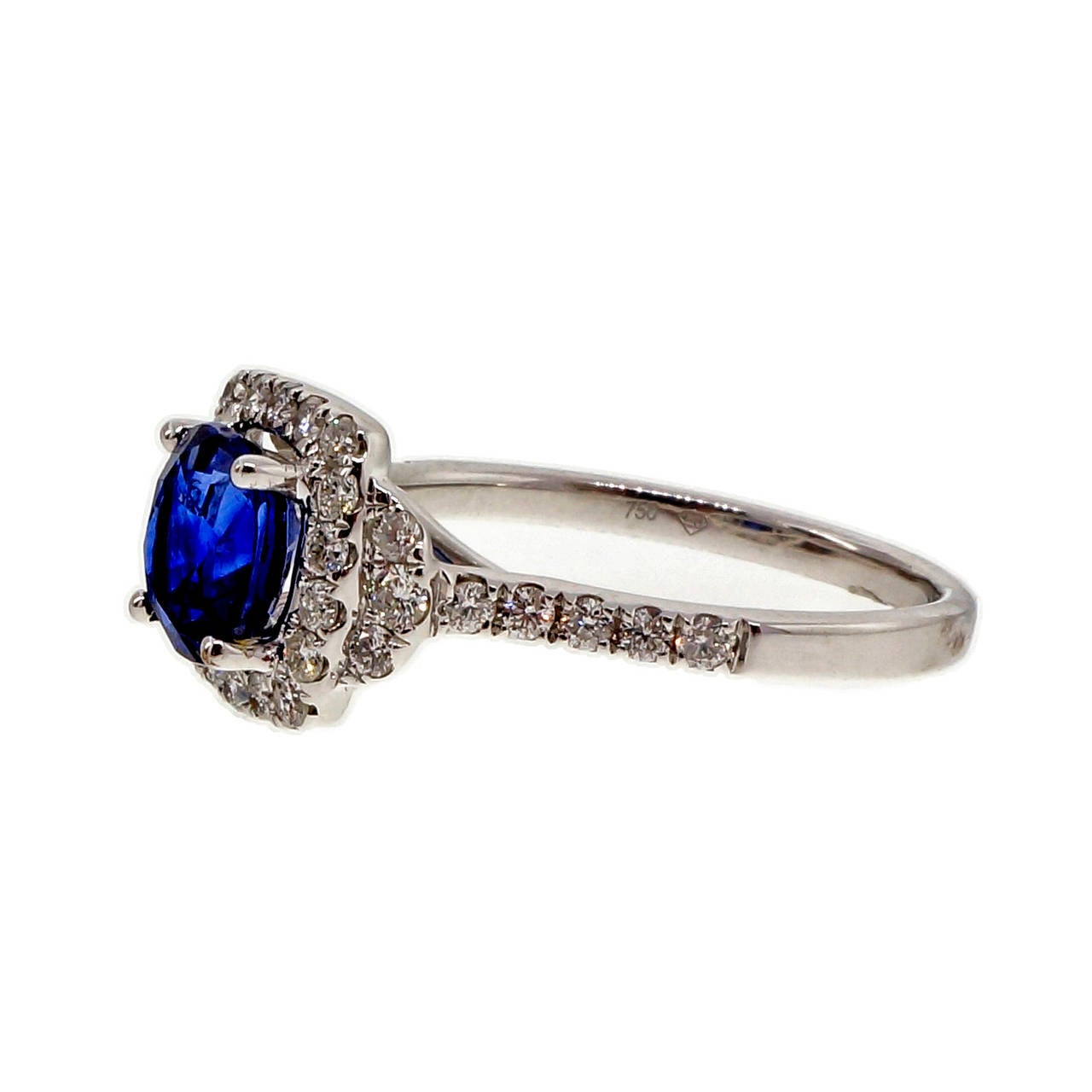 Sapphire Diamond Halo Gold Engagement Ring For Sale at 1stdibs