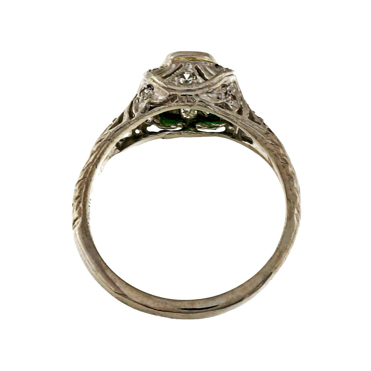 Demantoid Garnet Platinum Ring In Good Condition For Sale In Stamford, CT