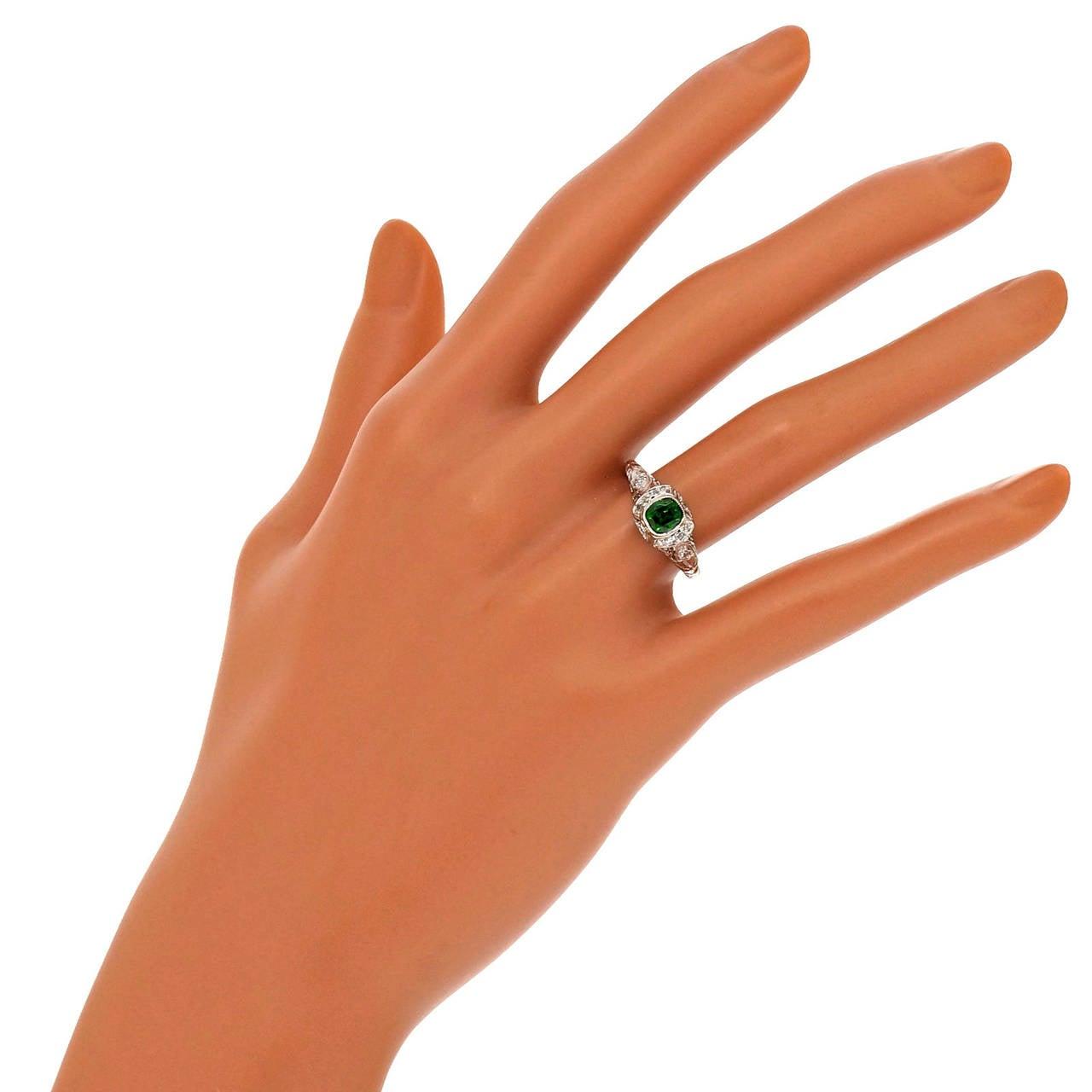 Demantoid Garnet Platinum Ring For Sale 1