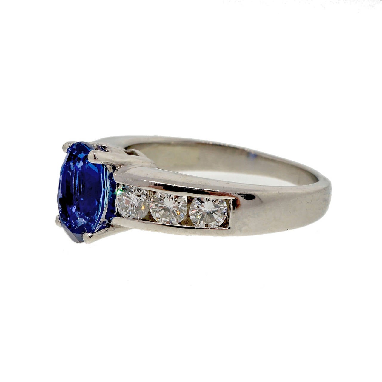 Natural Blue Sapphire and Diamond Platinum Engagement Ring For Sale 4