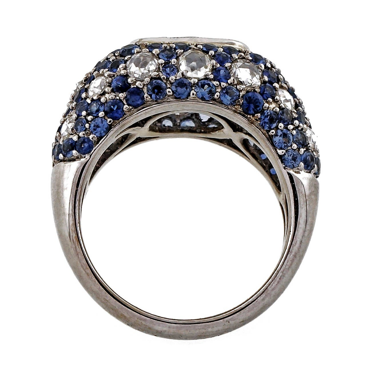 Sapphire Diamond Gold Dome Ring For Sale 1
